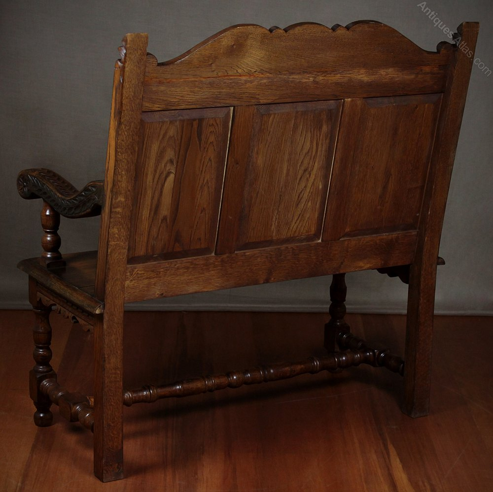 Late th c carved oak hall bench seat antiques