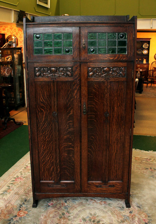 Liberty Style Arts And Crafts Oak Hall Wardrobe Antiques