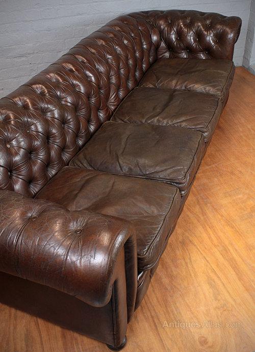 Antiques Atlas Long Leather Club Sofa