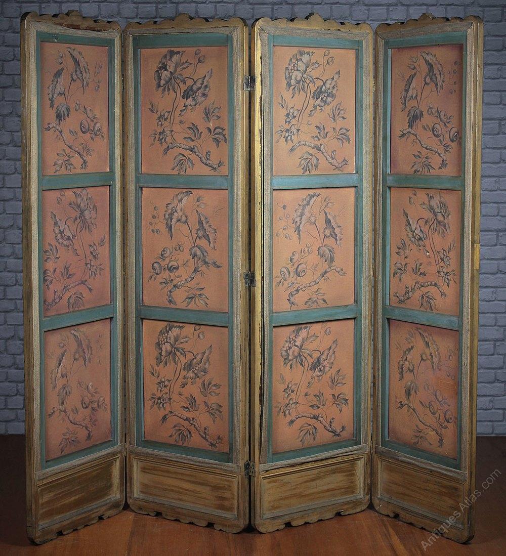 Oriental style four fold dressing screen c
