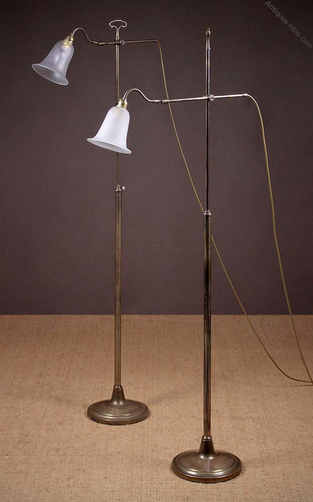 Antiques Atlas Pair Brass Floor Standing Reading Lamps C