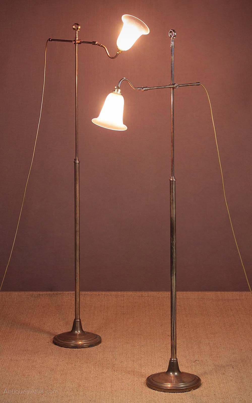 Antiques atlas pair brass floor standing reading lamps c for 1930 floor lamps