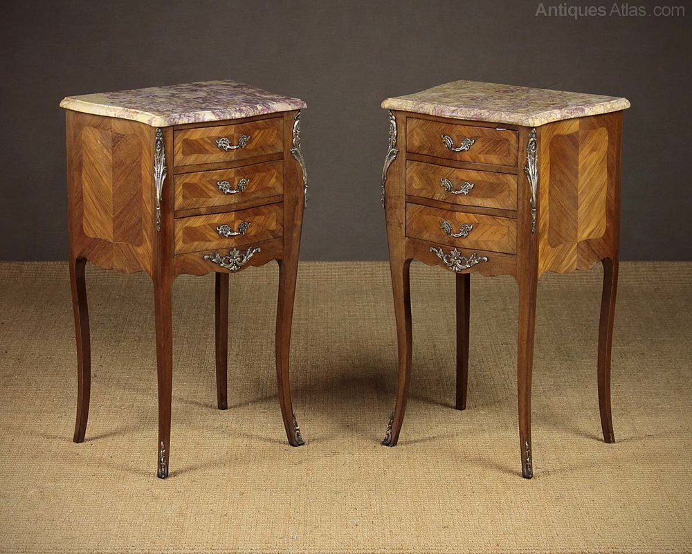 Cool Pair French Marble Top Bedside Cabinets c
