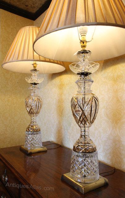 antiques atlas pair vintage cut glass table lamps. Black Bedroom Furniture Sets. Home Design Ideas