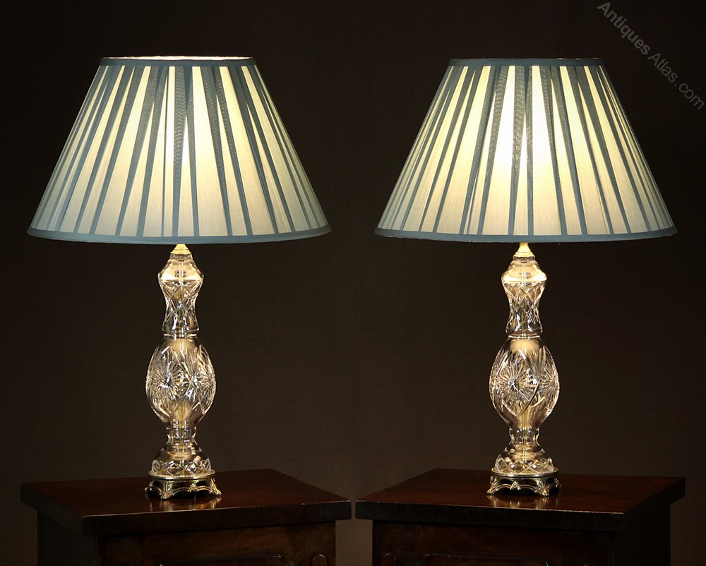 Antiques Atlas - Pair Of Cut Glass Table Lamps C.1950.:Pair of Cut Glass Table Lamps c.1950.,Lighting