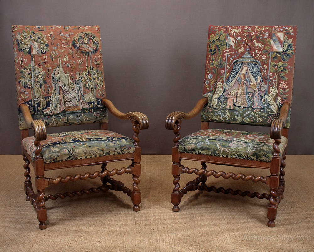 Pair Of Large Armchairs With Lady & Unicorn Tapestry ...