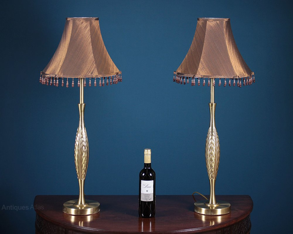 Antiques atlas pair of mid century modern table lamps c for Tall slim lamp table
