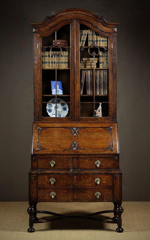 queen anne style oak bureau bookcase antiques atlas. Black Bedroom Furniture Sets. Home Design Ideas