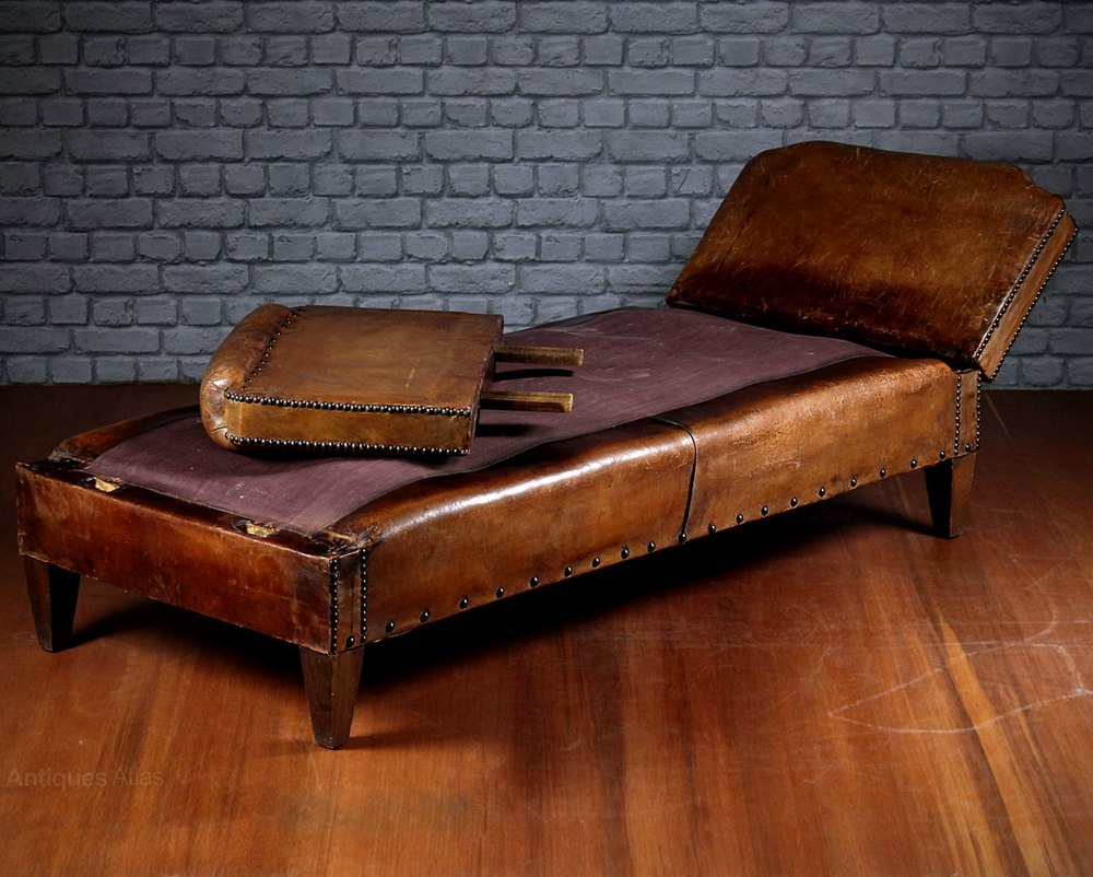 Reclining leather daybed antiques atlas for Backless double ended chaise longue
