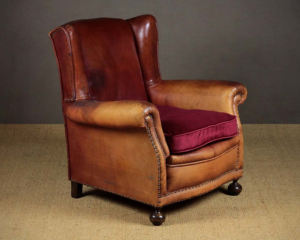 Red Leather Armchair C.1910. - Antiques Atlas