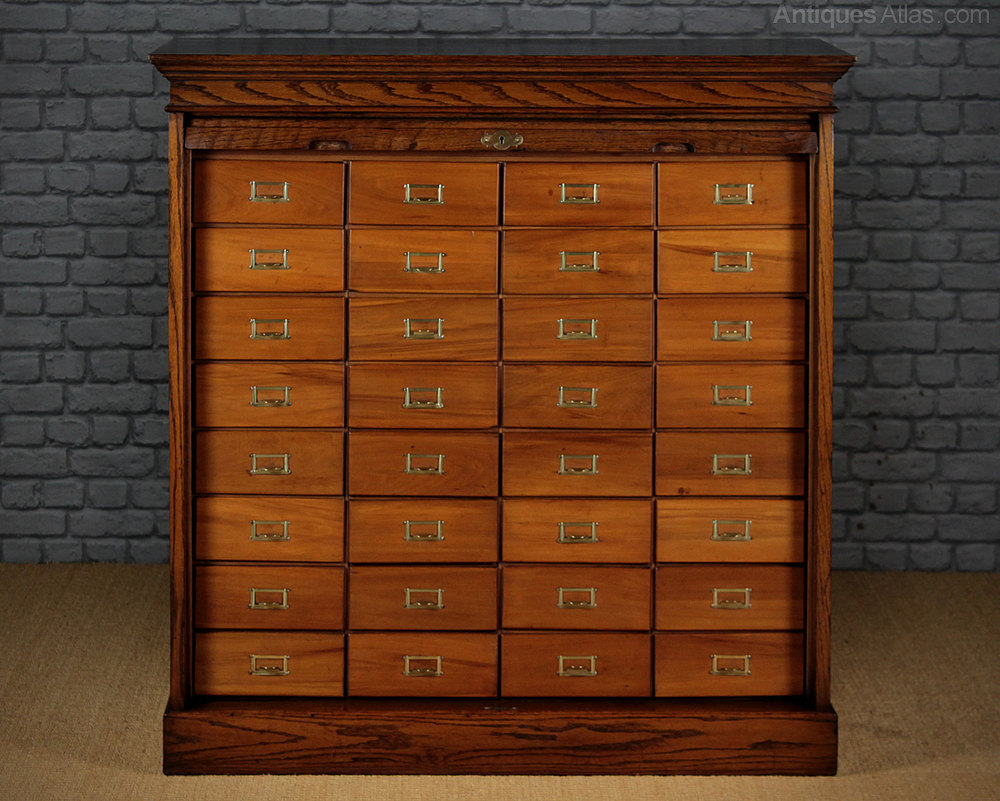 Roll Front 32 Drawer Office Filing Cabinet C 1910