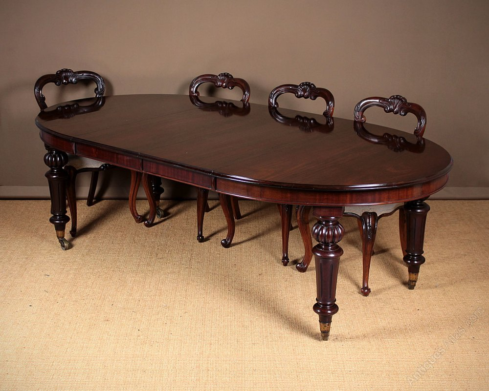 seater 8 extending mahogany campaign dining table antiques atlas. Black Bedroom Furniture Sets. Home Design Ideas