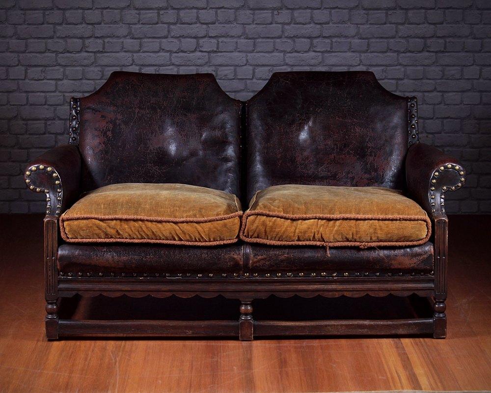 Small Leather Sofa C 1920 Antiques Atlas