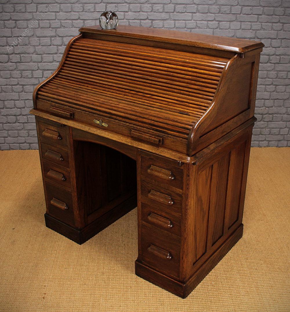 Edwardian Oak Roll Top Desk - Antiques Atlas  Roll Top Desk