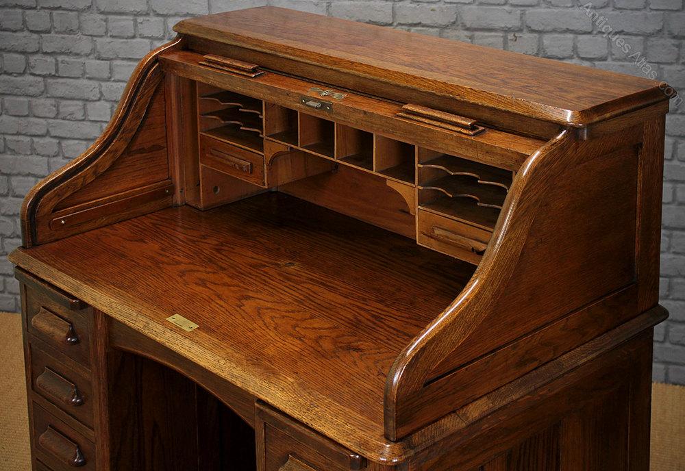 Small Oak Roll Top Desk C 1920 Antiques Atlas