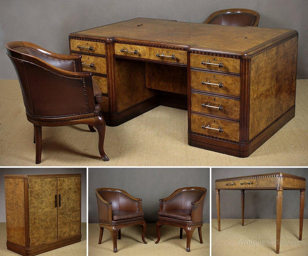 Suite of art deco office furniture antiques atlas - Antique office desk ...
