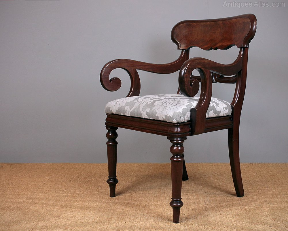Two William Iv Scroll Arm Desk Chairs C 1830 Antiques Atlas