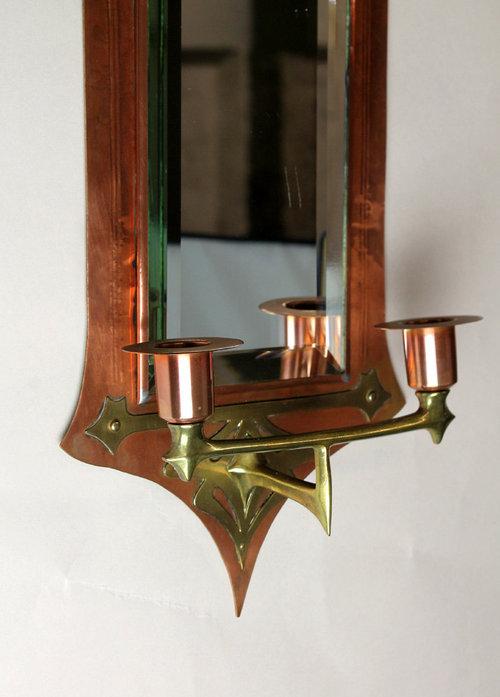 Antiques Atlas Wmf Art Nouveau Copper Mirror Amp Wall Sconce