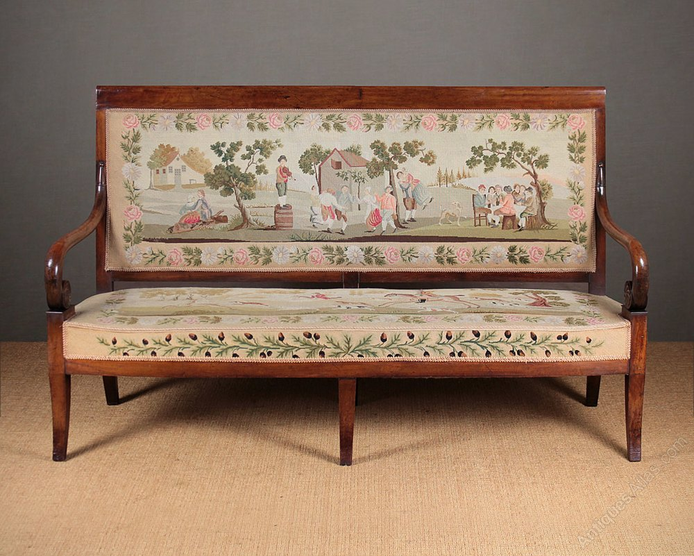 Walnut settee with original embroidery covers antiques atlas for Settees for sale