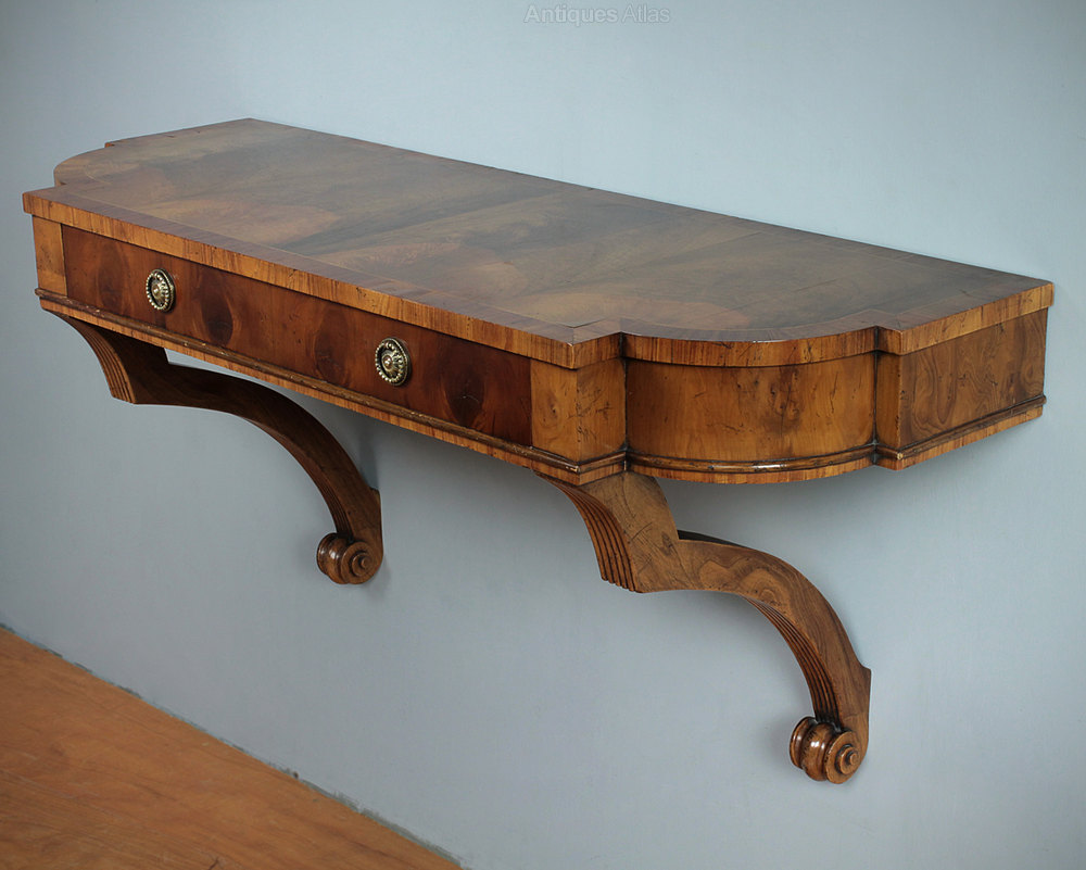 Antiques atlas yew wood wall mounted console table for Yew sofa table