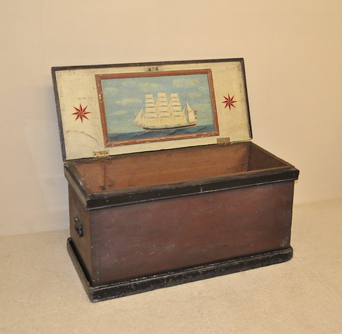 Seaman's Chest With Naive Painting