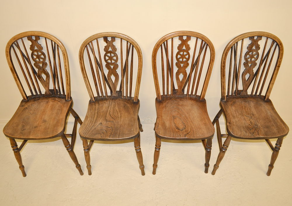 set of 4 wheelback dining chairs antiques atlas. Black Bedroom Furniture Sets. Home Design Ideas