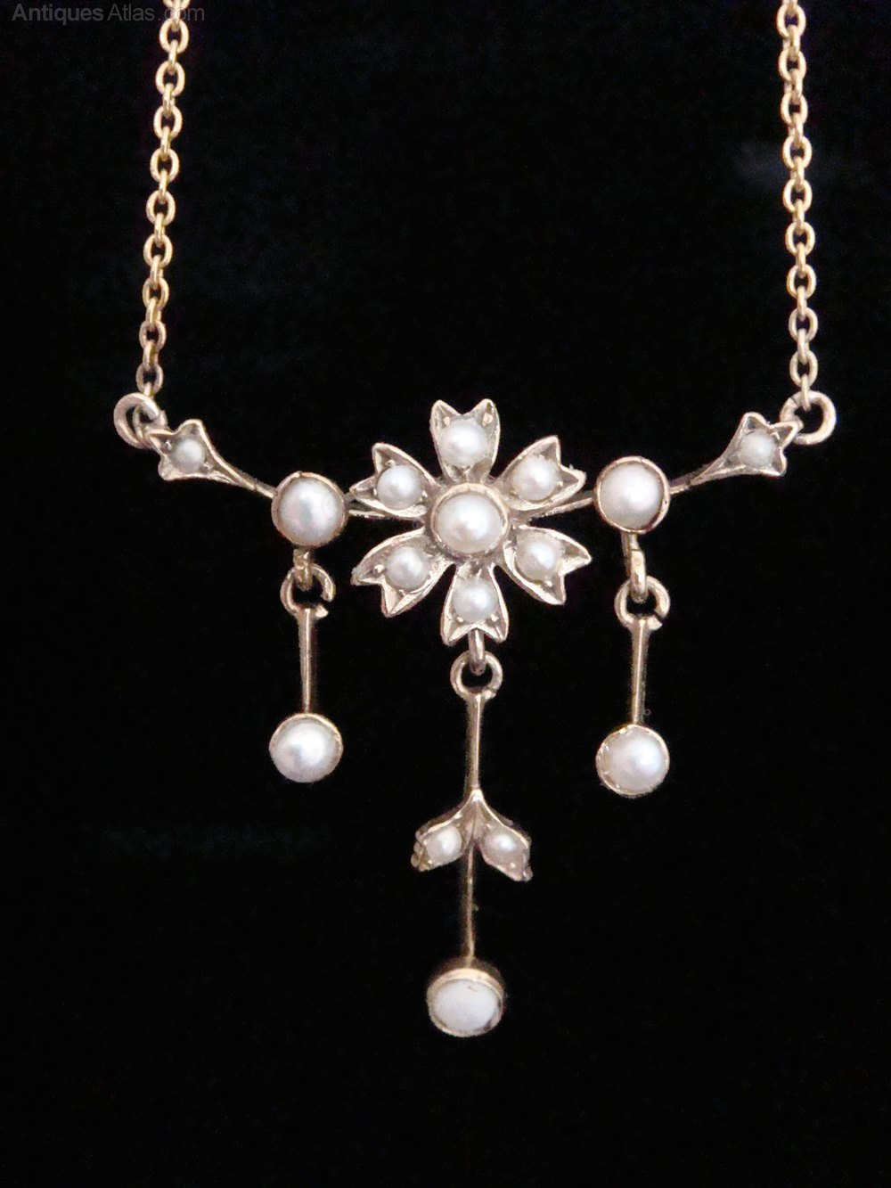 antiques atlas edwardian 9ct seed pearl necklace
