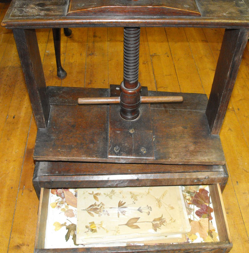 Antique Oak Book Press With Ornate Drawer