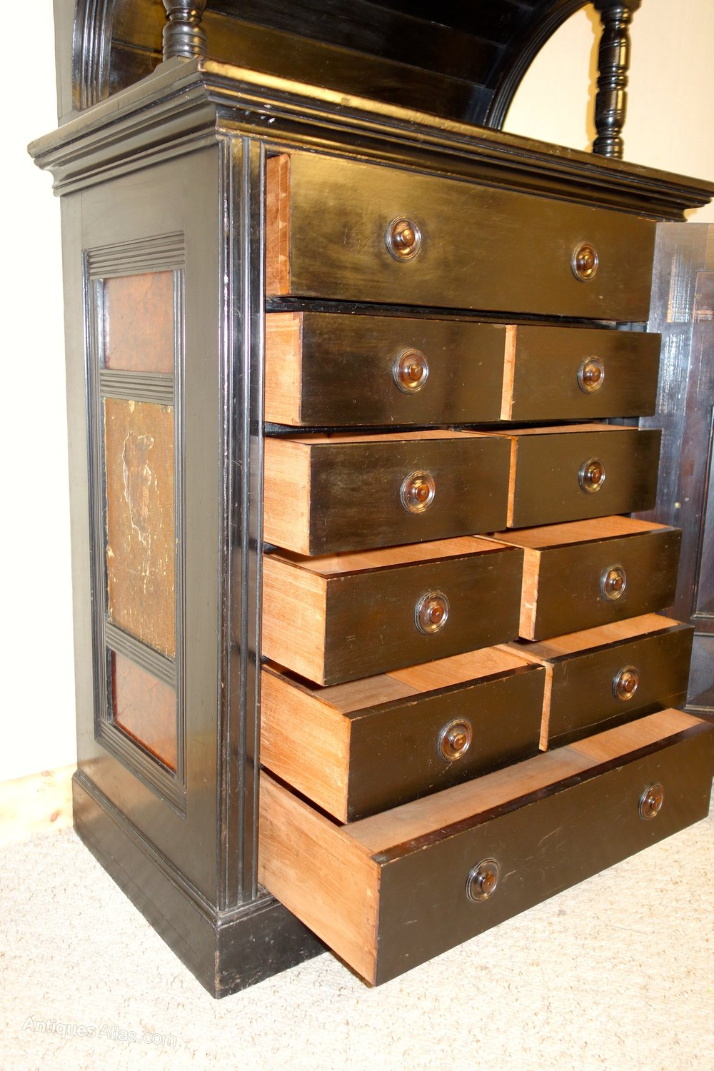 Arts crafts ebonised victorian cabinet antiques atlas for Arts and crafts storage cabinet