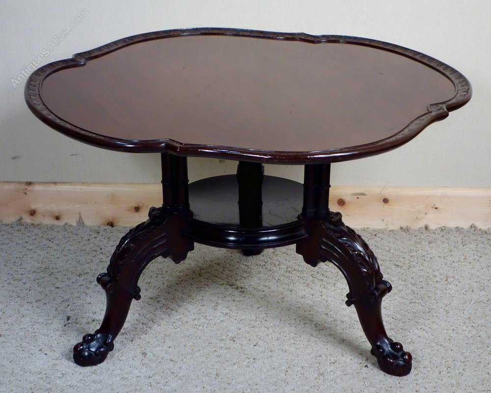 Carved mahogany coffee table antiques atlas Carved coffee table