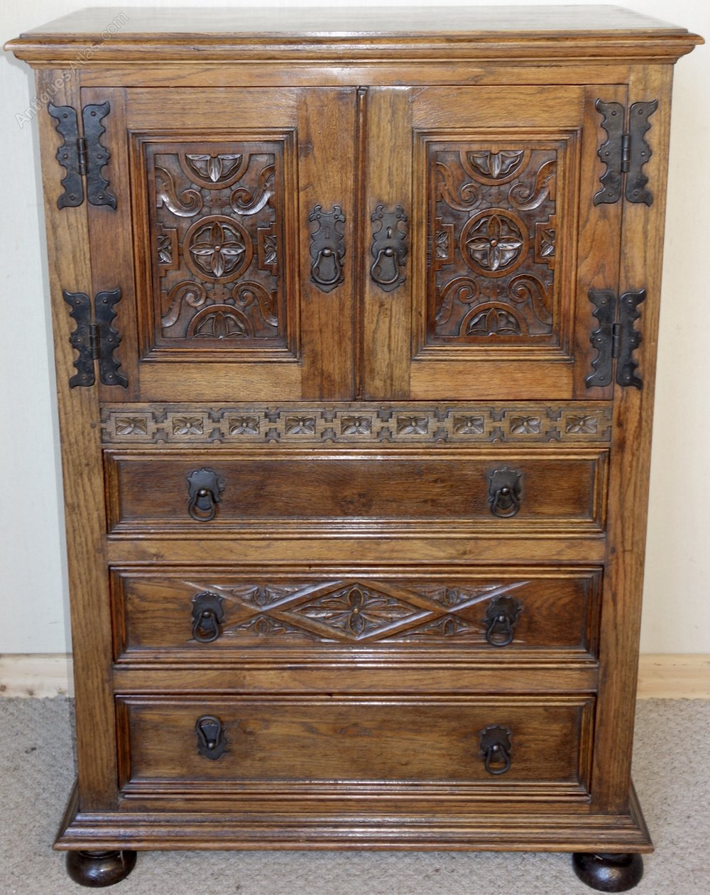Carved oak cupboard chest of drawers antiques atlas