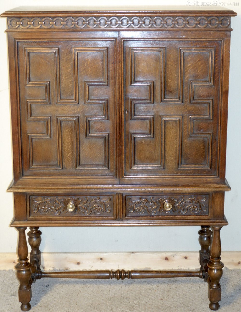 Carved oak jacobean style cupboard antiques atlas