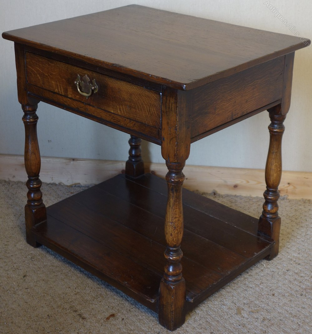 Antiques atlas distressed oak lamp table with drawer for Z oak lamp table