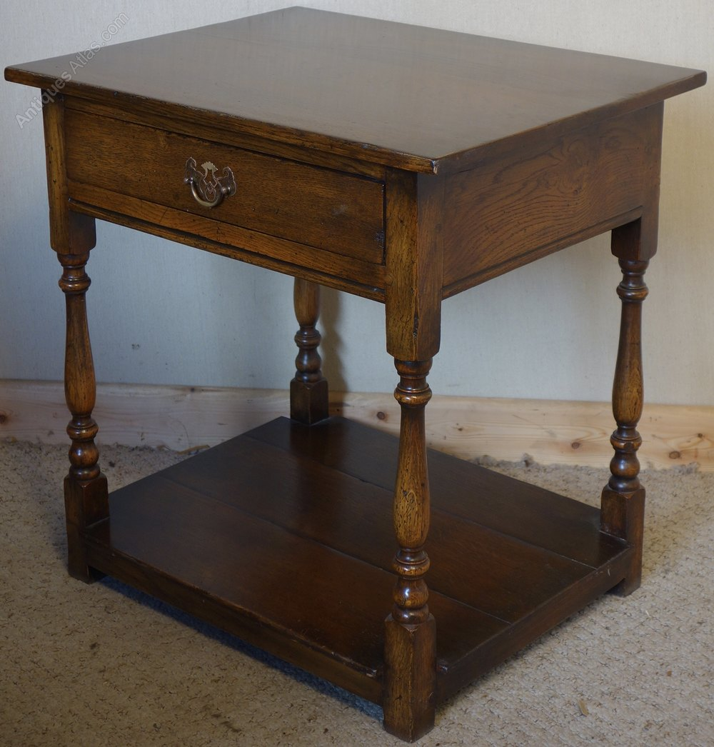 Antiques atlas distressed oak side lamp table with drawer for Side and lamp tables