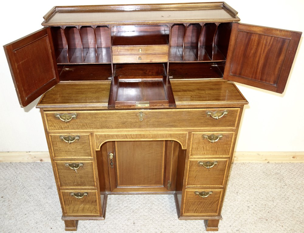 Edwards & Roberts Secretaire Mahogany Inlay Desk