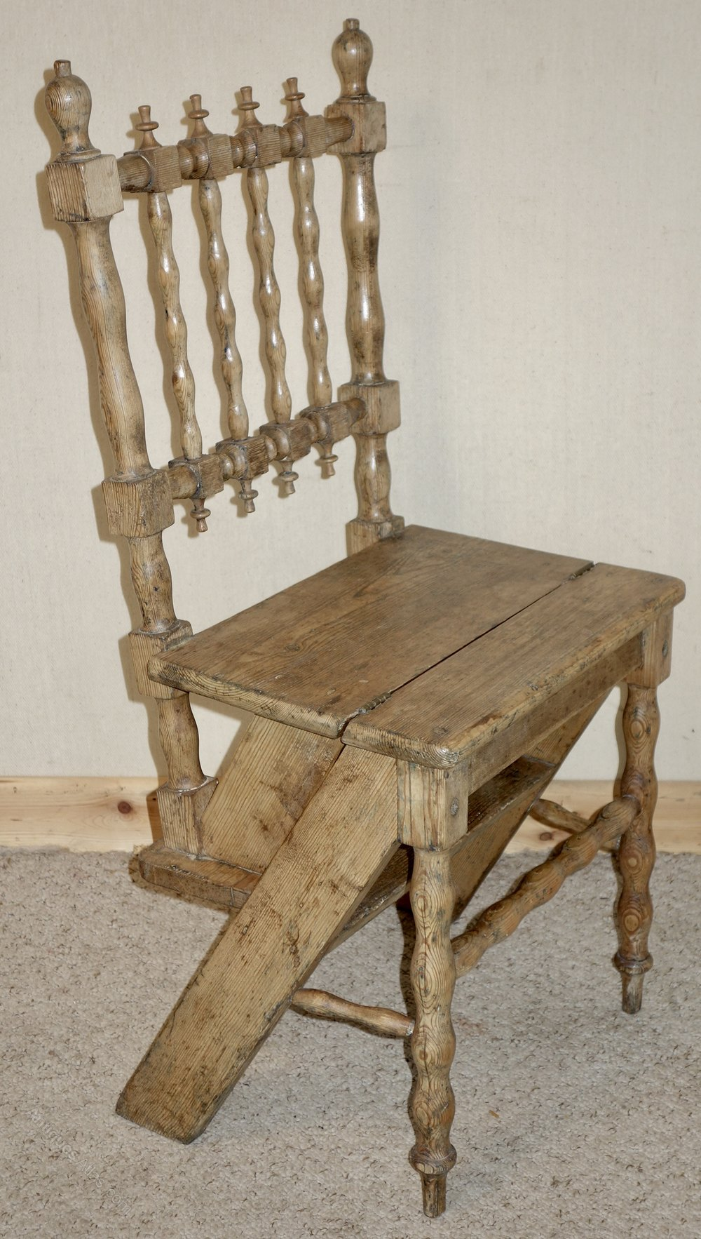 Metamorphic Pine Victorian Library Steps Chair Antiques