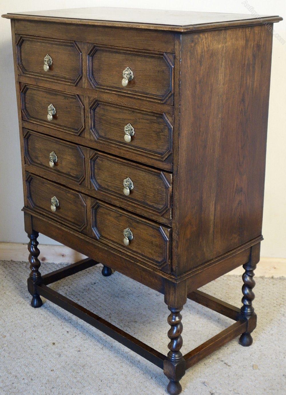 Oak chest of drawers on barley twist legs jacobean