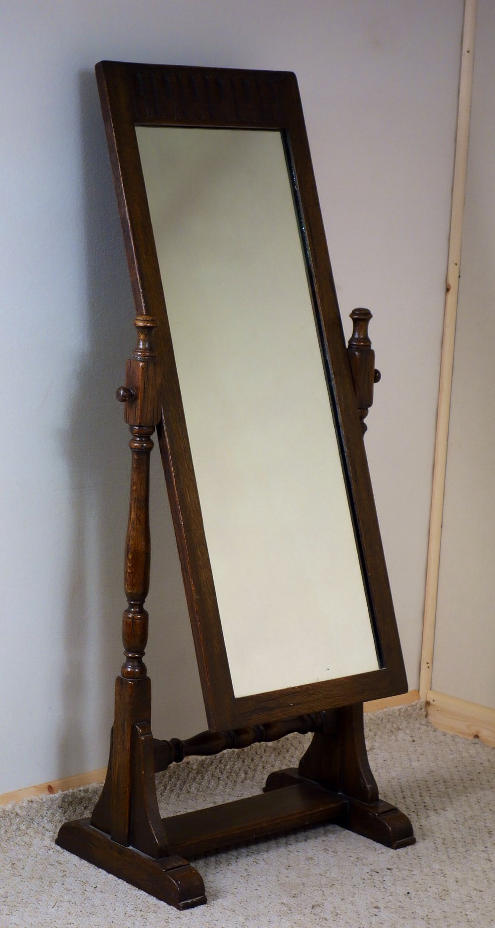 Antiques atlas oak cheval mirror for Cheval mirror