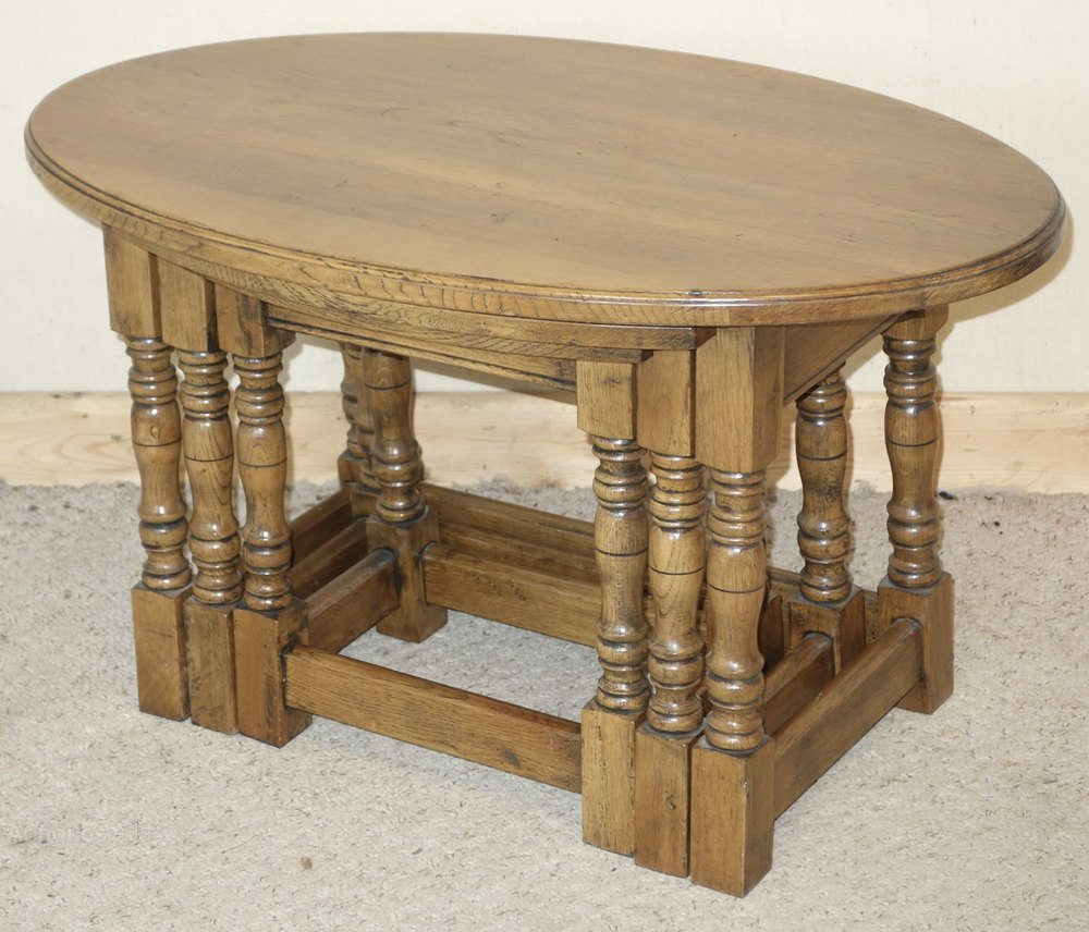Oval Coffee Table Antique: Oval Oak Nest Of Coffee Tables