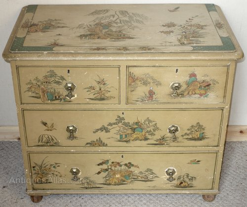 Painted Chinoiserie Victorian Chest Of Drawers Antiques Atlas