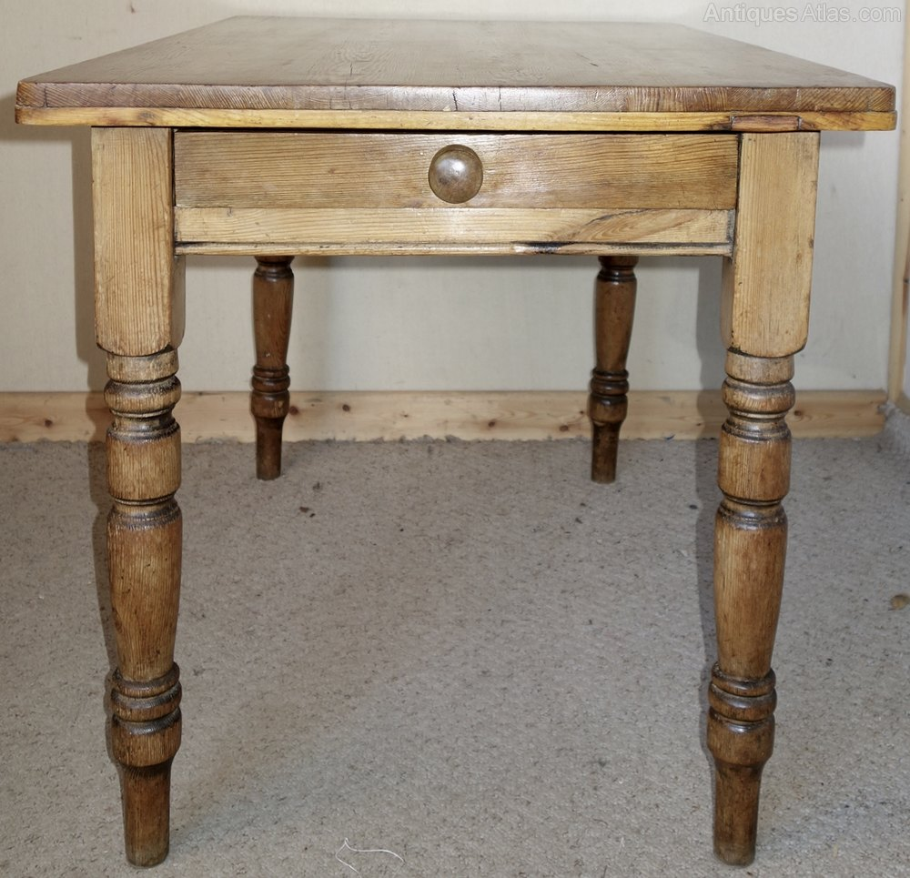 Rustic pine kitchen table with drawer antiques atlas - Kitchen table rustic ...