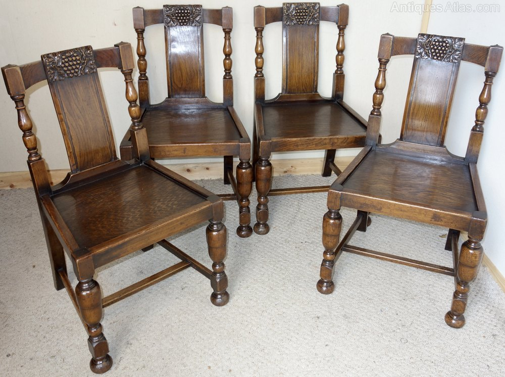 Set Of Four Oak Dining Chairs Antiques Atlas