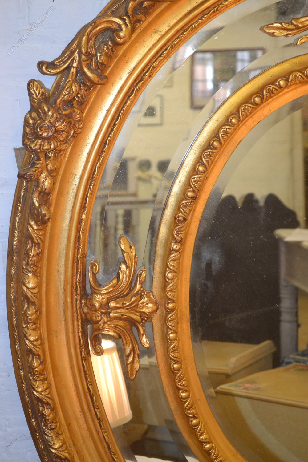 Antiques atlas decorative oval large mirror for Large decorative mirrors
