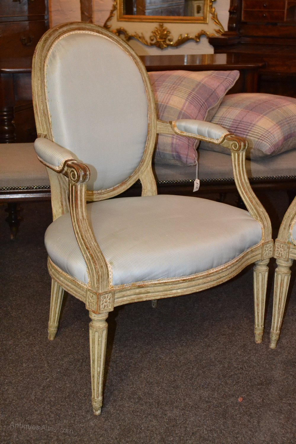 most attractive pair of french salon chairs in pale wood and blue