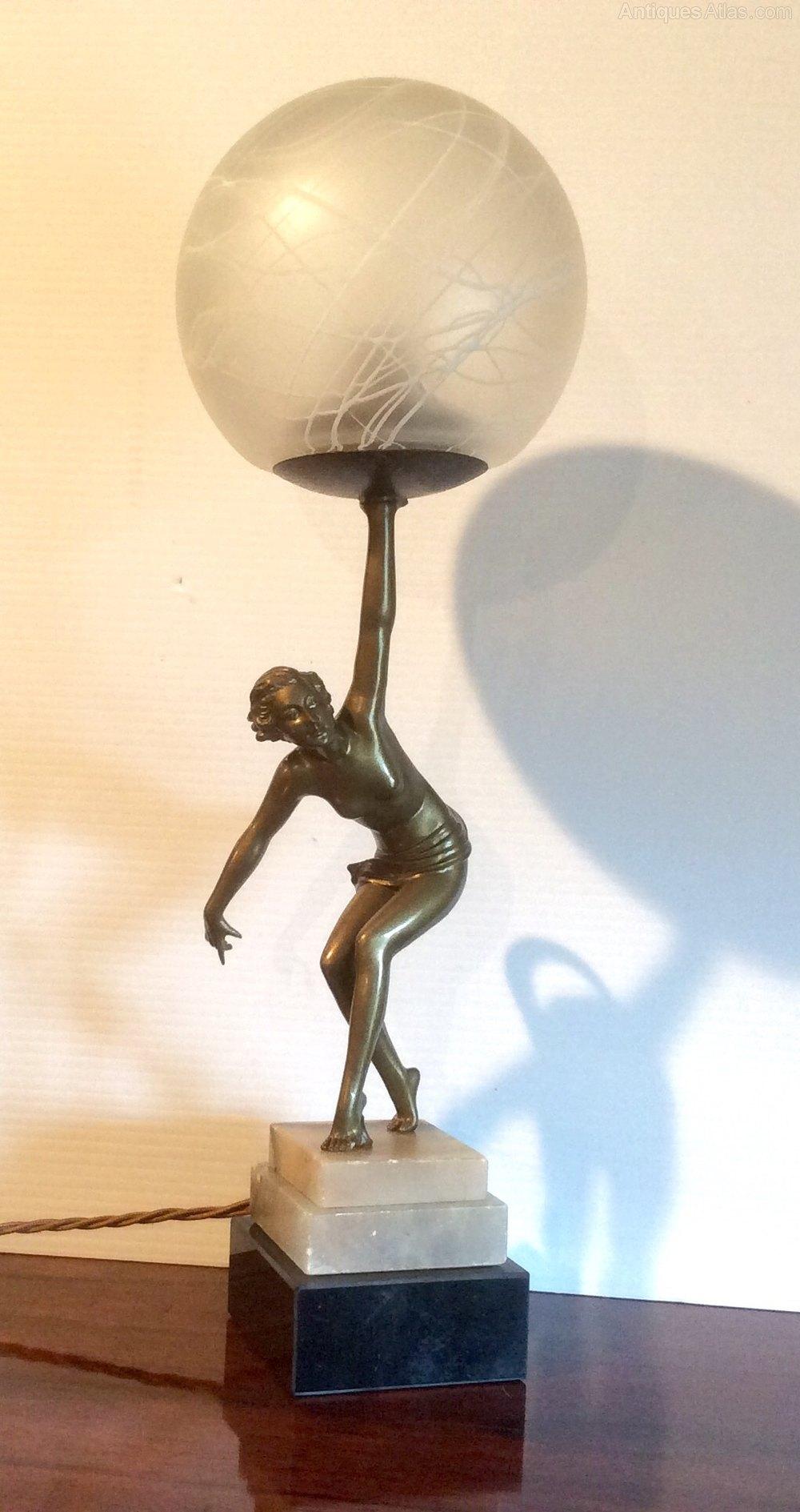 Antiques Atlas Lovely Antique Art Deco Lady Lamp