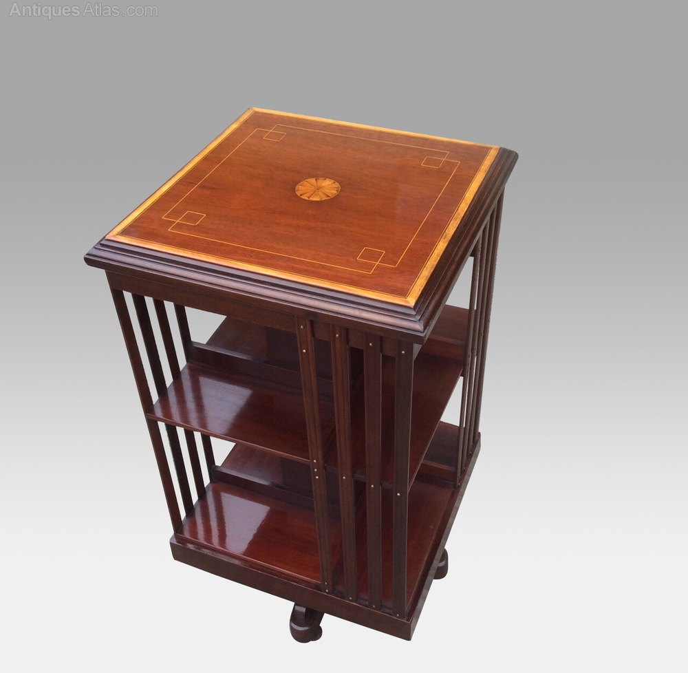 Quality Antique Inlaid Mahogany Revolving Bookcase