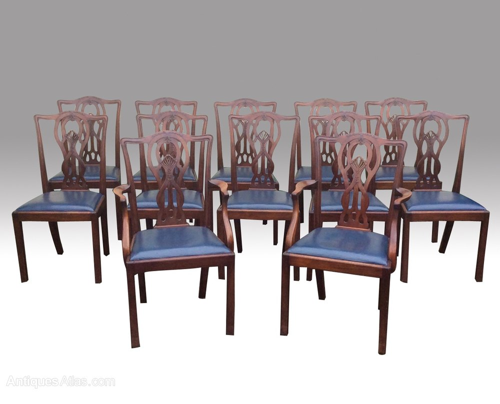 Set of twelve antique mahogany dining room chairs for Mahogany dining room furniture