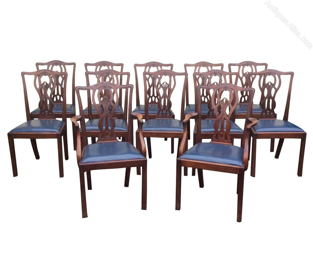 Set of twelve antique mahogany dining room chairs for Antique dining room furniture