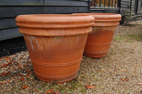 antiques atlas pair of very large terracotta planters. Black Bedroom Furniture Sets. Home Design Ideas