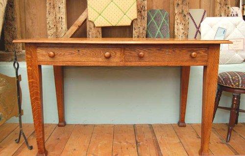 Solid Oak Edwardian Writing Table ...